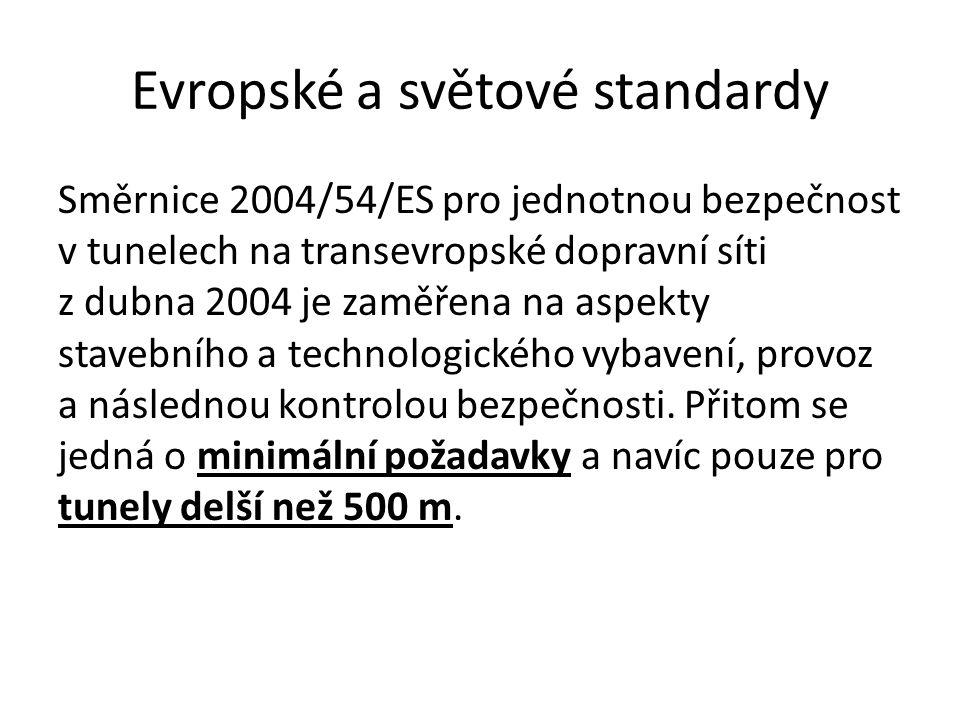 Evropské a světové standardy Směrnice 2004/54/ES pro jednotnou bezpečnost v tunelech na transevropské dopravní síti z dubna 2004 je zaměřena na aspekt