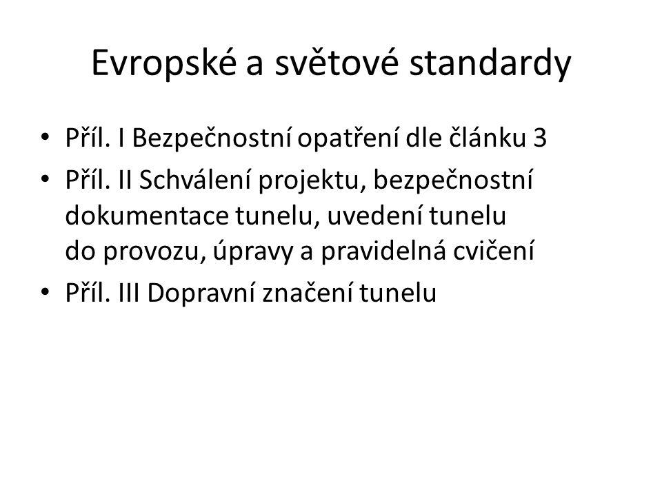 Evropské a světové standardy Příl. I Bezpečnostní opatření dle článku 3 Příl. II Schválení projektu, bezpečnostní dokumentace tunelu, uvedení tunelu d
