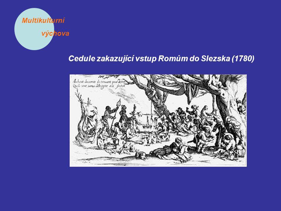 Multikulturní výchova Cedule zakazující vstup Romům do Slezska (1780)