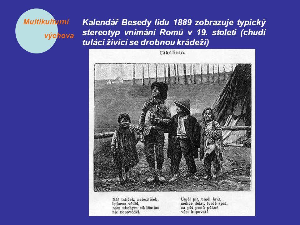 Multikulturní výchova Kalendář Besedy lidu 1889 zobrazuje typický stereotyp vnímání Romů v 19. století (chudí tuláci živící se drobnou krádeží)