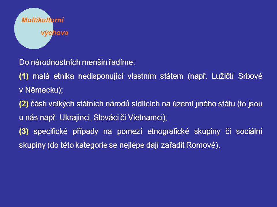 Multikulturní výchova Do národnostních menšin řadíme: (1) malá etnika nedisponující vlastním státem (např. Lužičtí Srbové v Německu); (2) části velkýc