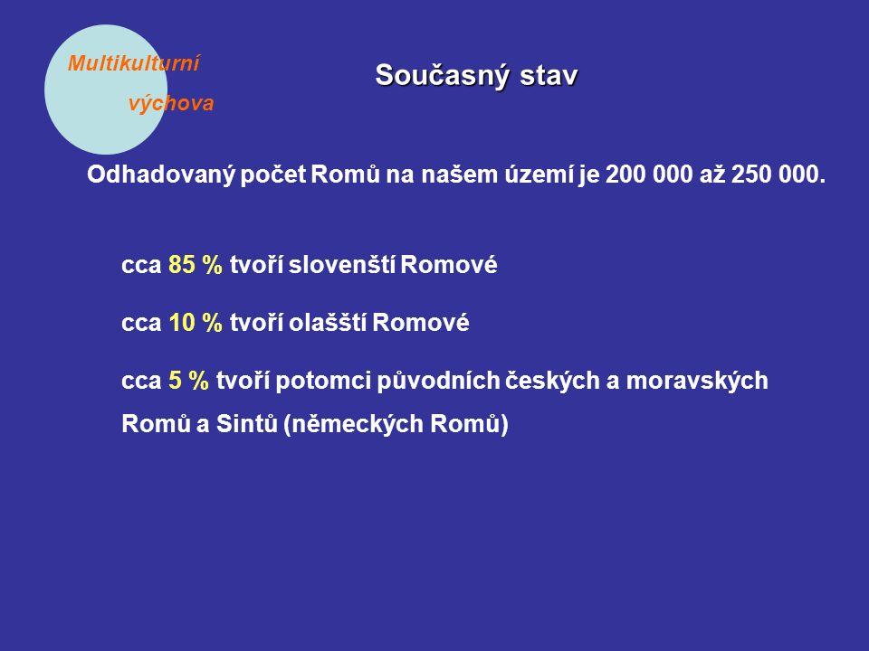 Multikulturní výchova Současný stav Odhadovaný počet Romů na našem území je 200 000 až 250 000. cca 85 % tvoří slovenští Romové cca 10 % tvoří olašští