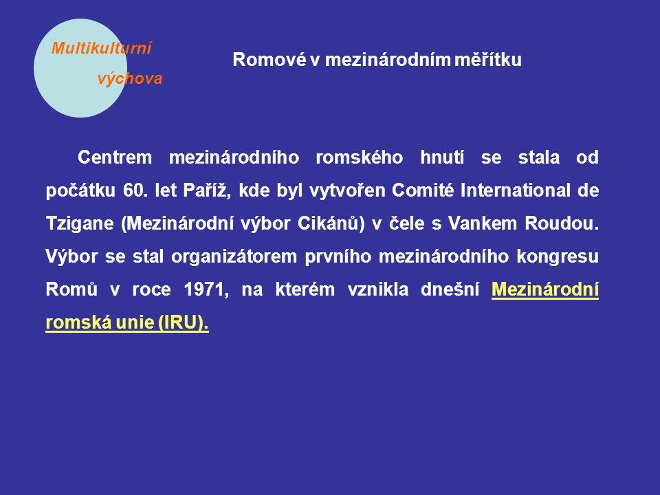 Multikulturní výchova Romové v mezinárodním měřítku Centrem mezinárodního romského hnutí se stala od počátku 60. let Paříž, kde byl vytvořen Comité In