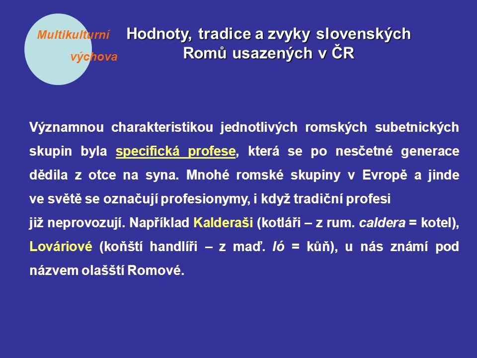 Multikulturní výchova Hodnoty, tradice a zvyky slovenských Romů usazených v ČR Významnou charakteristikou jednotlivých romských subetnických skupin byla specifická profese, která se po nesčetné generace dědila z otce na syna.