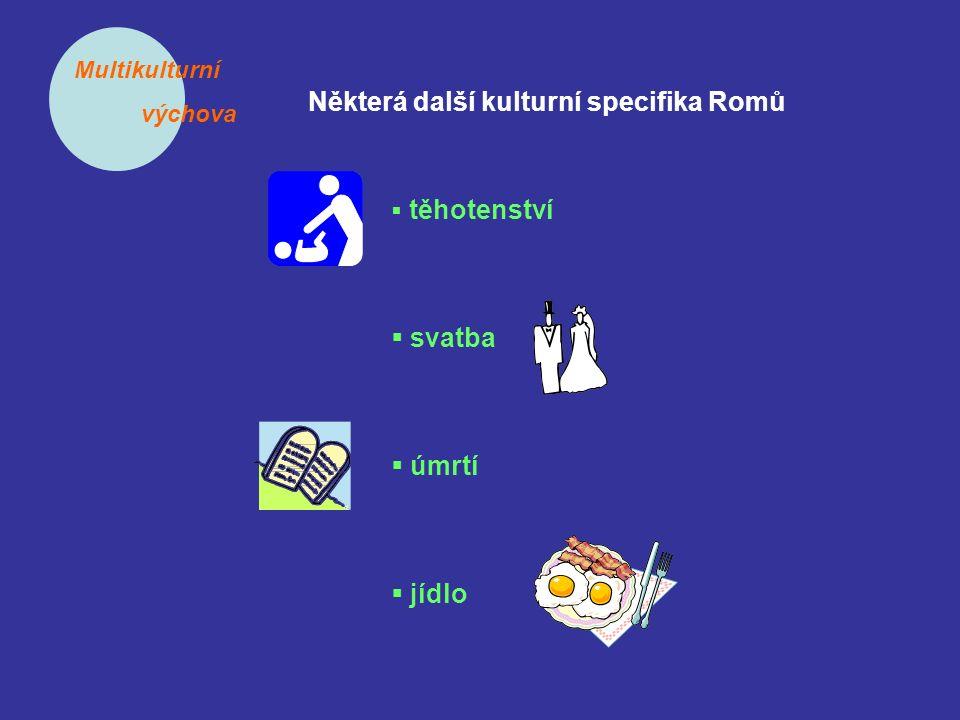 Multikulturní výchova Některá další kulturní specifika Romů  těhotenství  svatba  úmrtí  jídlo
