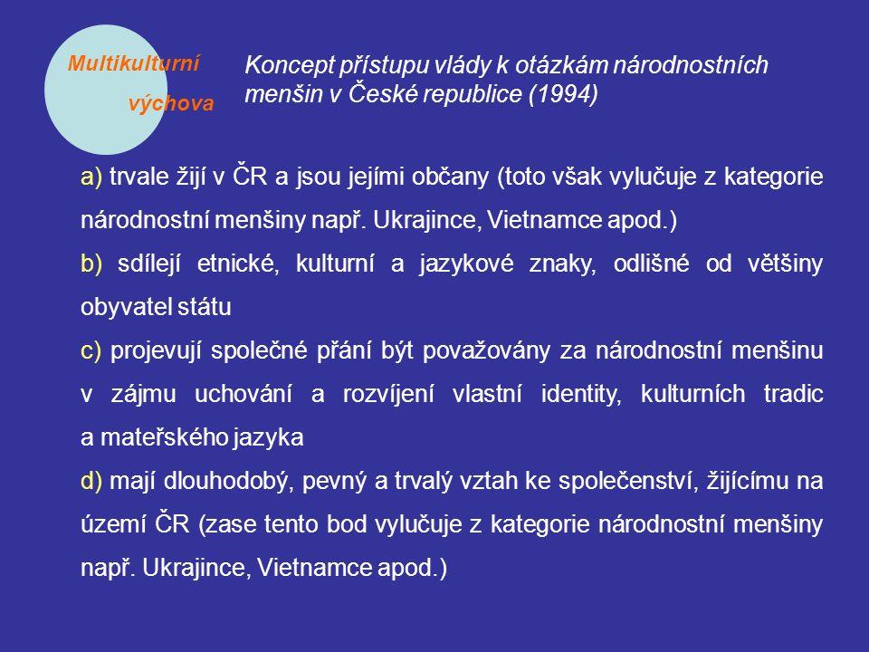 Multikulturní výchova Koncept přístupu vlády k otázkám národnostních menšin v České republice (1994) a) trvale žijí v ČR a jsou jejími občany (toto vš