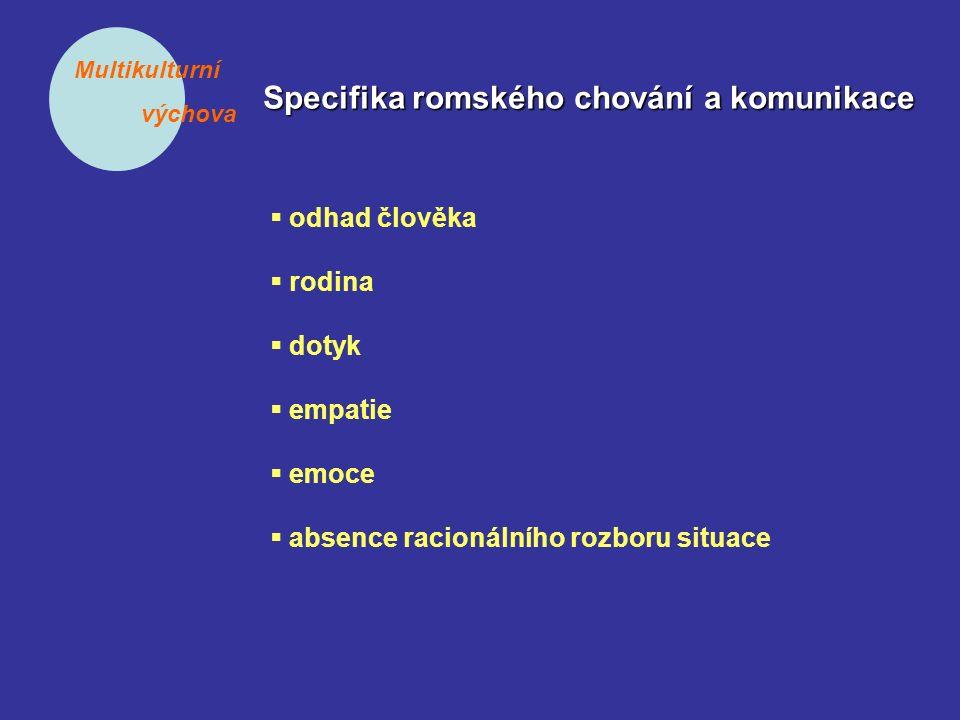 Multikulturní výchova Specifika romského chování a komunikace  odhad člověka  rodina  dotyk  empatie  emoce  absence racionálního rozboru situace