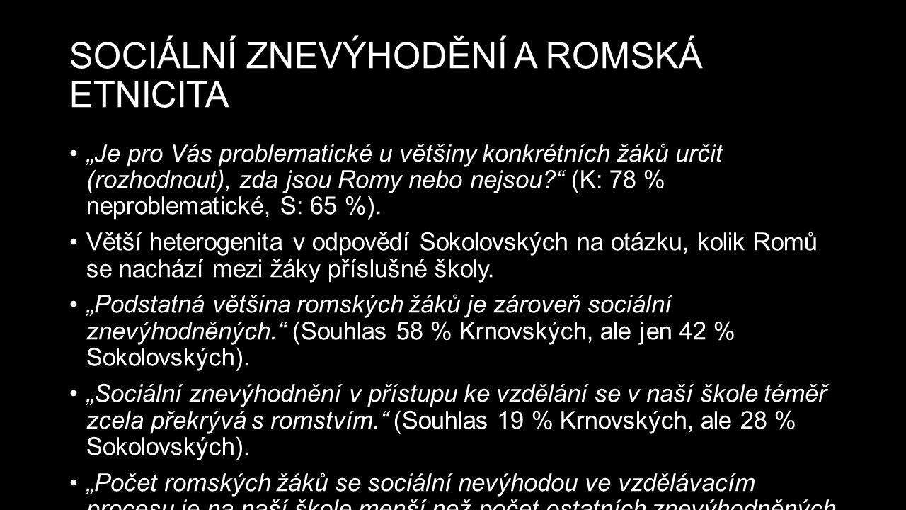 """SOCIÁLNÍ ZNEVÝHODĚNÍ A ROMSKÁ ETNICITA """"Je pro Vás problematické u většiny konkrétních žáků určit (rozhodnout), zda jsou Romy nebo nejsou (K: 78 % neproblematické, S: 65 %)."""