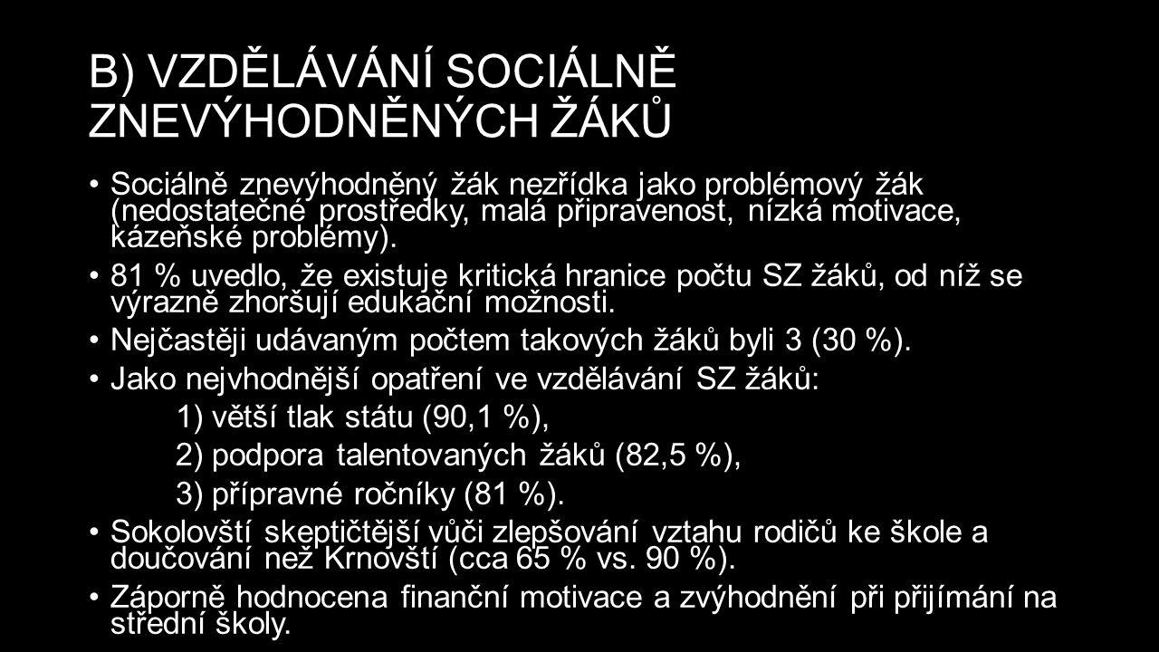B) VZDĚLÁVÁNÍ SOCIÁLNĚ ZNEVÝHODNĚNÝCH ŽÁKŮ Sociálně znevýhodněný žák nezřídka jako problémový žák (nedostatečné prostředky, malá připravenost, nízká motivace, kázeňské problémy).