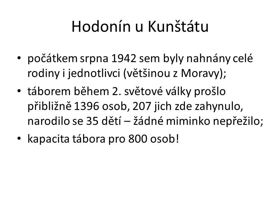 Hodonín u Kunštátu počátkem srpna 1942 sem byly nahnány celé rodiny i jednotlivci (většinou z Moravy); táborem během 2.