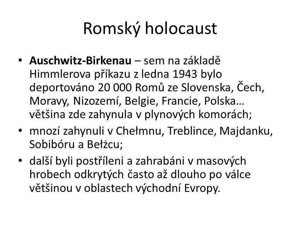 Romský holocaust Auschwitz-Birkenau – sem na základě Himmlerova příkazu z ledna 1943 bylo deportováno 20 000 Romů ze Slovenska, Čech, Moravy, Nizozemí, Belgie, Francie, Polska… většina zde zahynula v plynových komorách; mnozí zahynuli v Chełmnu, Treblince, Majdanku, Sobibóru a Bełżcu; další byli postříleni a zahrabáni v masových hrobech odkrytých často až dlouho po válce většinou v oblastech východní Evropy.