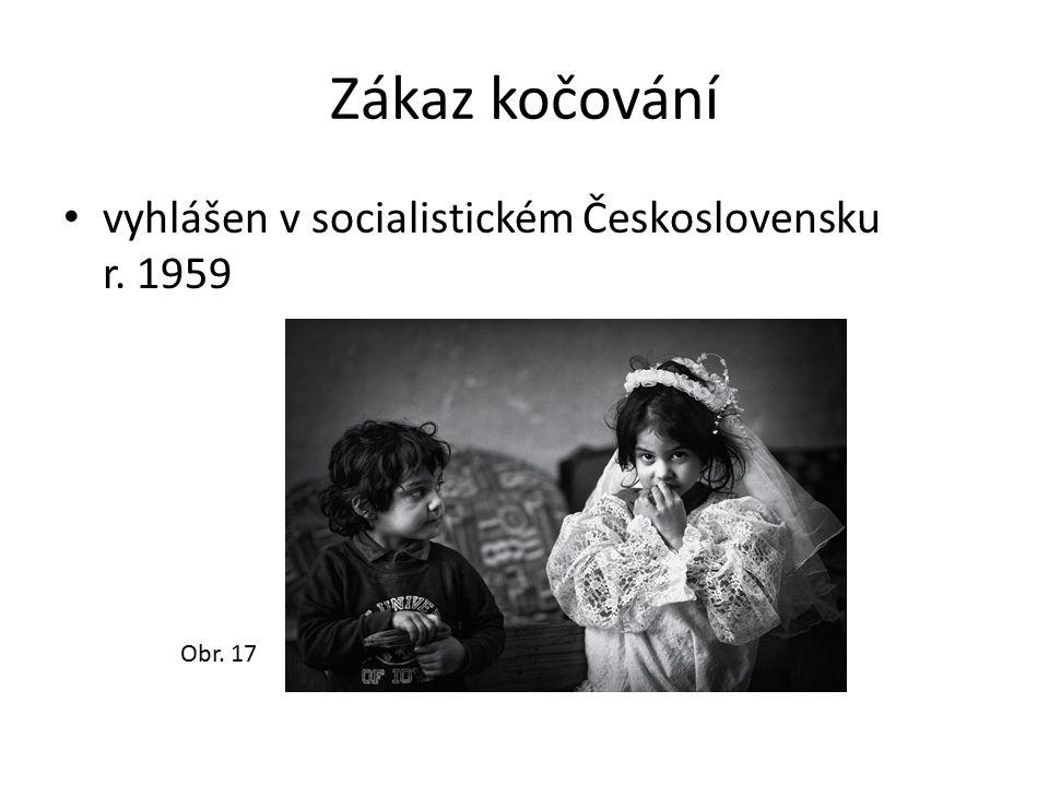 Zákaz kočování vyhlášen v socialistickém Československu r. 1959 Obr. 17