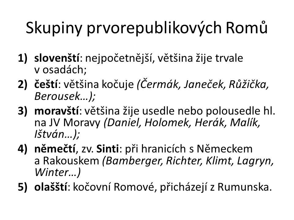 Svaz Cikánů-Romů krátkodobá emancipace romského hnutí začala během Pražského jara roku 1968; boj za uznání romského etnika jako oficiální státní menšiny v roce 1973 byl Svaz donucen svou činnost ukončit; v roce 1970 vlády byla přijata koncepce společensko-kulturní integrace (bez účasti Romů).