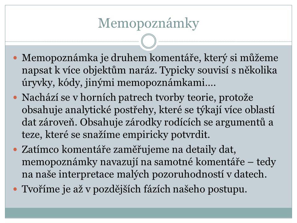 Memopoznámky Memopoznámka je druhem komentáře, který si můžeme napsat k více objektům naráz.