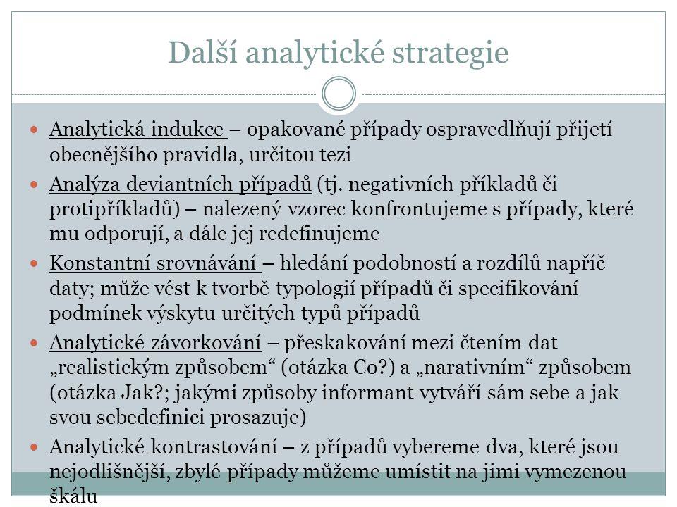 Další analytické strategie Analytická indukce – opakované případy ospravedlňují přijetí obecnějšího pravidla, určitou tezi Analýza deviantních případů (tj.