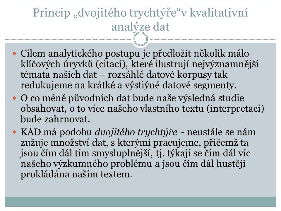 Etika v kvalitativním výzkumu Etická doporučení/etické kódy v rámci výzkumných asociací (české i zahraniční) – etika jako splnění principů formulovaných v dané profesní skupině Etické komise Etika procedurální versus etika v praxi (mikroetika) Etický rámec výzkumu (MŠMT) http://www.msmt.cz/vyzkum/eticky-ramec-vyzkumu-1?lang=1 Ethical Guidelines for Educational Research (British Educational Research Association –BERA) https://www.bera.ac.uk/wp-content/uploads/2014/02/BERA-Ethical- Guidelines-2011.pdf?noredirect=1 The European School Psychologists Association, American Psychological Association (APA), American Sociological Association (ASA) atd.