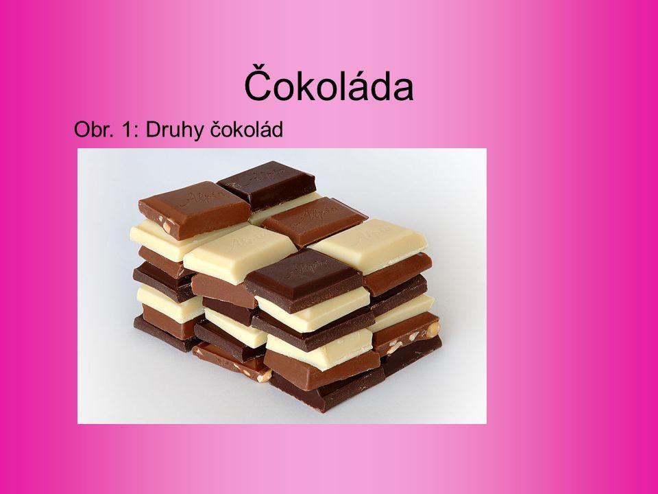 Čokoládové cukrovinky Dělení podle způsobu výroby Formované, máčené, potahované, dražované Dělení z obchodního hlediska Formované čokoládové cukrovinky (Kávová zrna, … ) Plněné čokoládové tyčinky a tabulky (Milena, …) Máčené čokoládové cukrovinky (Špičky, …) Čokoládové dražé (Lentilky, …)