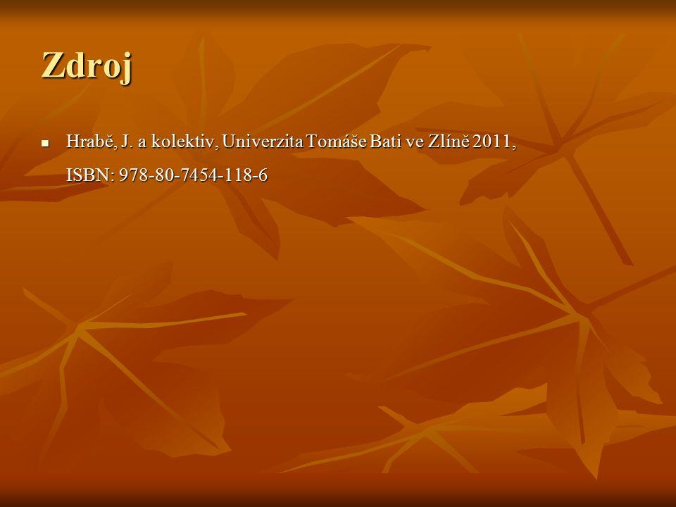 Zdroj Hrabě, J. a kolektiv, Univerzita Tomáše Bati ve Zlíně 2011, ISBN: 978-80-7454-118-6 Hrabě, J. a kolektiv, Univerzita Tomáše Bati ve Zlíně 2011,