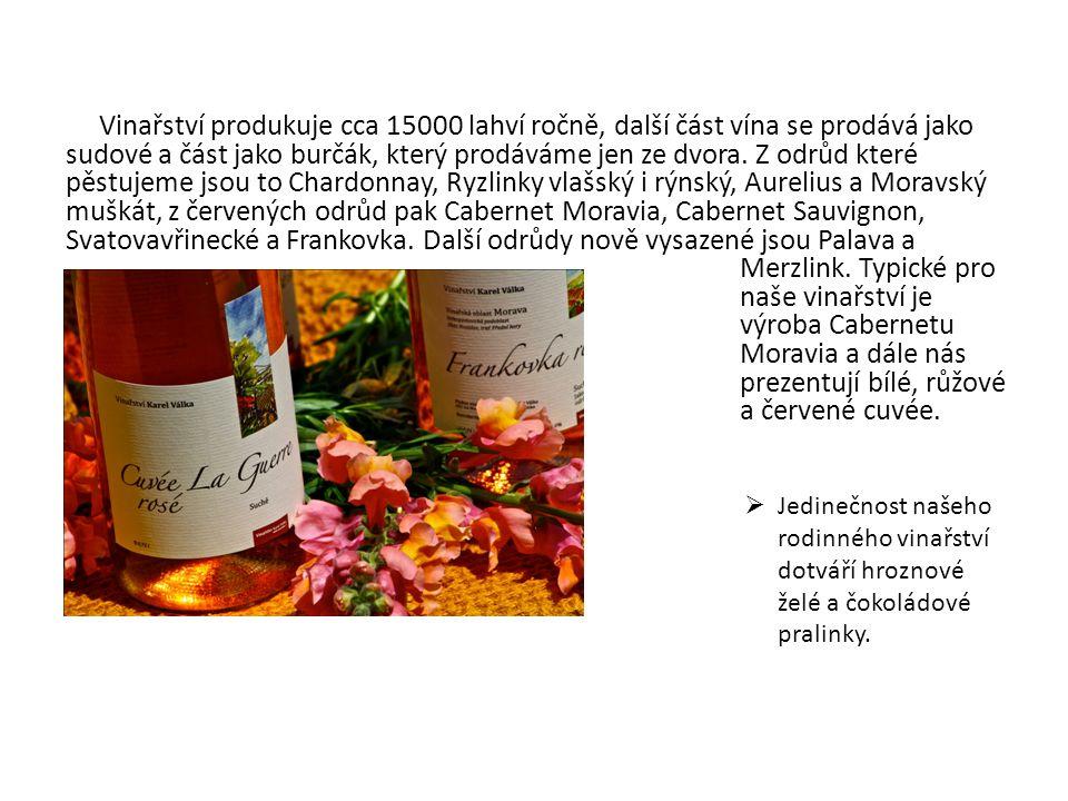 Vinařství produkuje cca 15000 lahví ročně, další část vína se prodává jako sudové a část jako burčák, který prodáváme jen ze dvora. Z odrůd které pěst