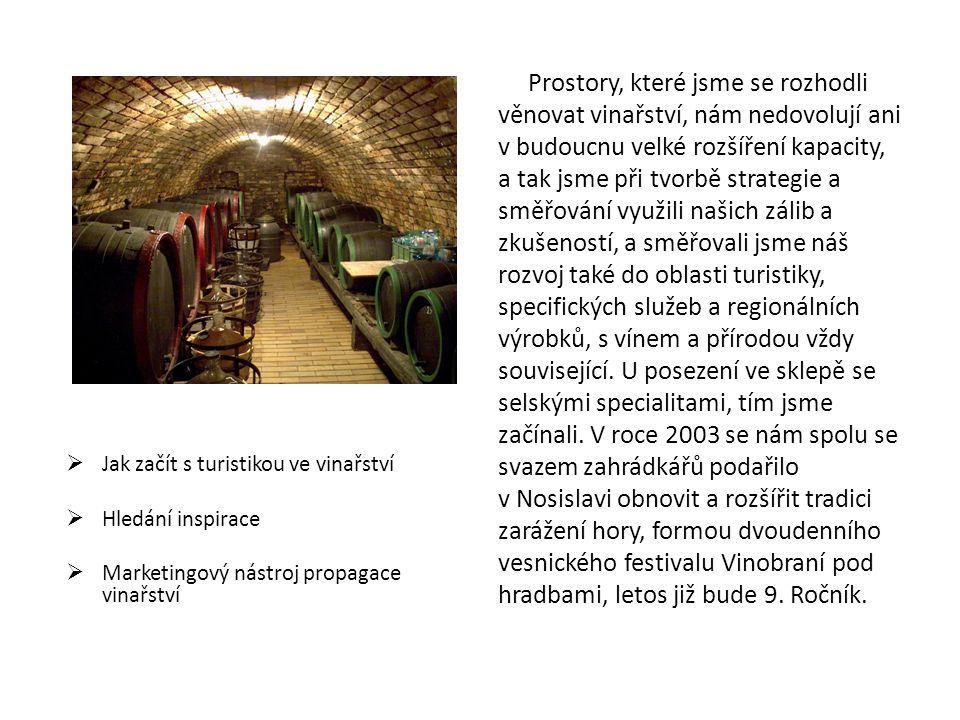  Jak začít s turistikou ve vinařství  Hledání inspirace  Marketingový nástroj propagace vinařství Prostory, které jsme se rozhodli věnovat vinařstv