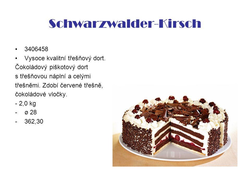 Schwarzwalder-Kirsch 3406458 Vysoce kvalitní třešňový dort. Čokoládový piškotový dort s třešňovou náplní a celými třešněmi. Zdobí červené třešně, čoko