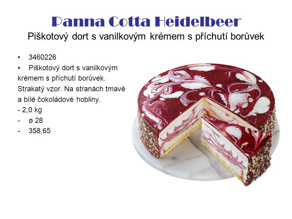 Panna Cotta Heidelbeer Piškotový dort s vanilkovým krémem s příchutí borůvek 3460226 Piškotový dort s vanilkovým krémem s příchutí borůvek.