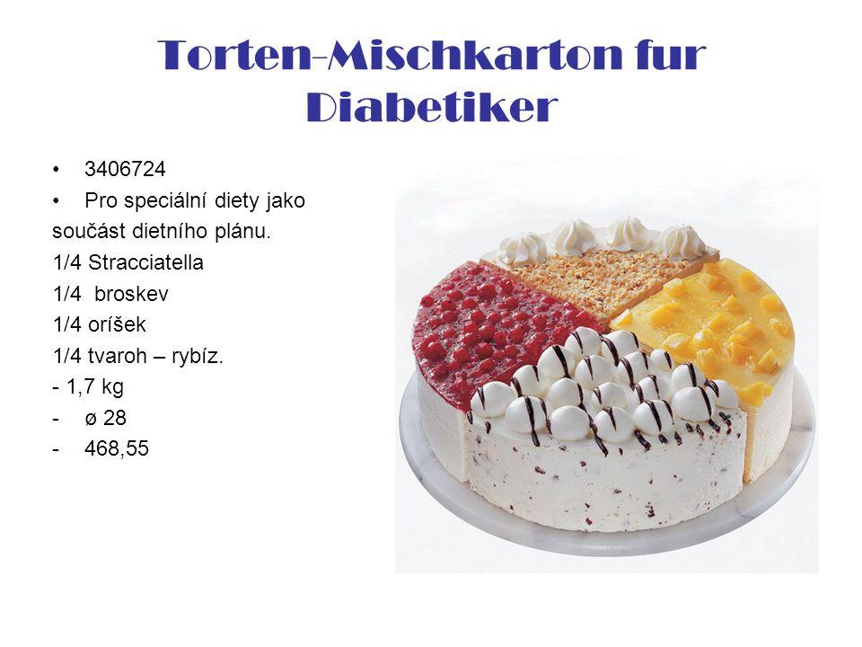 Torten-Mischkarton fur Diabetiker 3406724 Pro speciální diety jako součást dietního plánu. 1/4 Stracciatella 1/4 broskev 1/4 oríšek 1/4 tvaroh – rybíz