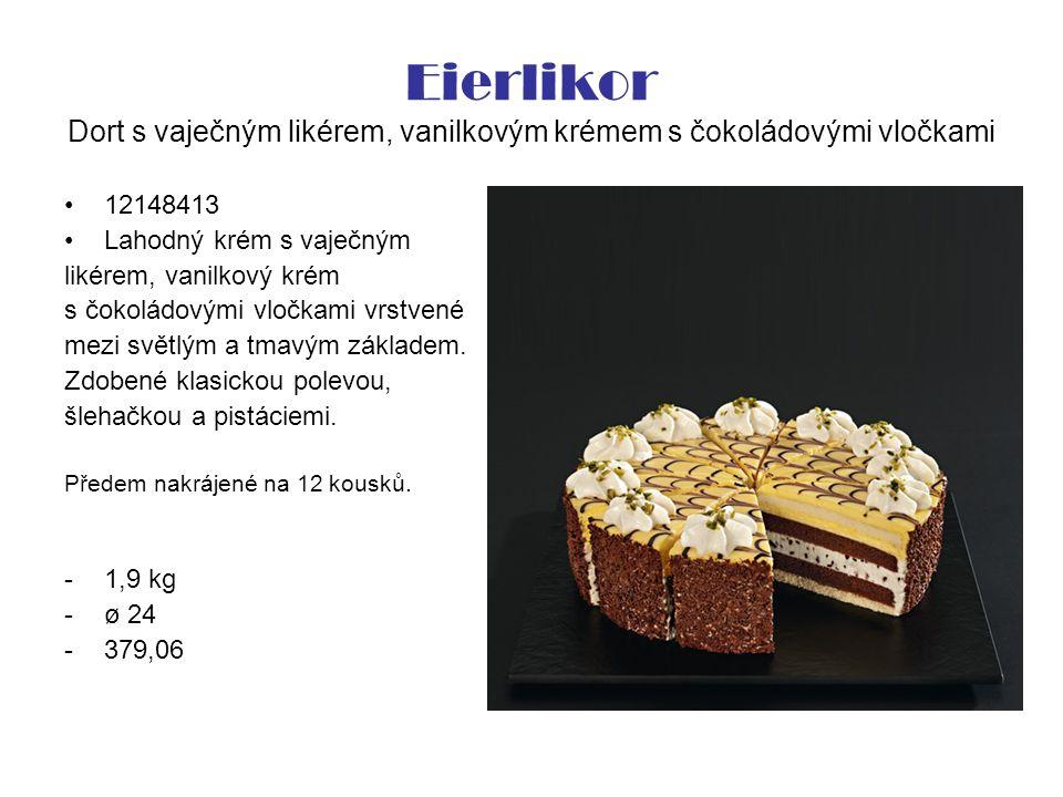 Eierlikor Dort s vaječným likérem, vanilkovým krémem s čokoládovými vločkami 12148413 Lahodný krém s vaječným likérem, vanilkový krém s čokoládovými vločkami vrstvené mezi světlým a tmavým základem.