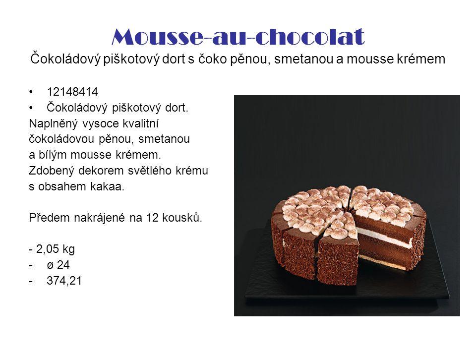Mousse-au-chocolat Čokoládový piškotový dort s čoko pěnou, smetanou a mousse krémem 12148414 Čokoládový piškotový dort.