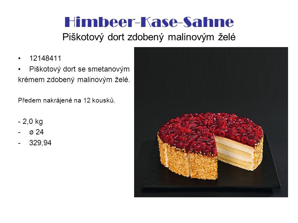 Himbeer-Kase-Sahne Piškotový dort zdobený malinovým želé 12148411 Piškotový dort se smetanovým krémem zdobený malinovým želé. Předem nakrájené na 12 k