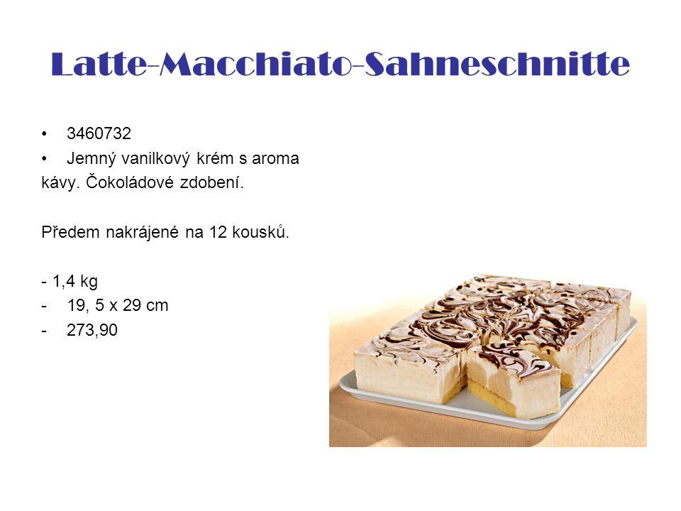Latte-Macchiato-Sahneschnitte 3460732 Jemný vanilkový krém s aroma kávy. Čokoládové zdobení. Předem nakrájené na 12 kousků. - 1,4 kg -19, 5 x 29 cm -2