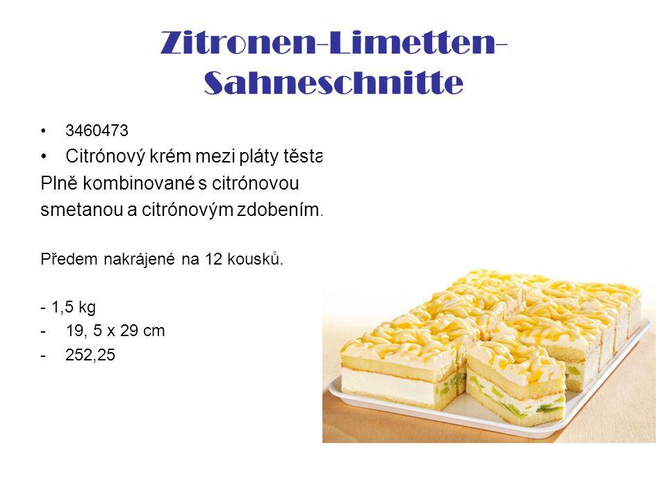 Zitronen-Limetten- Sahneschnitte 3460473 Citrónový krém mezi pláty těsta Plně kombinované s citrónovou smetanou a citrónovým zdobením. Předem nakrájen