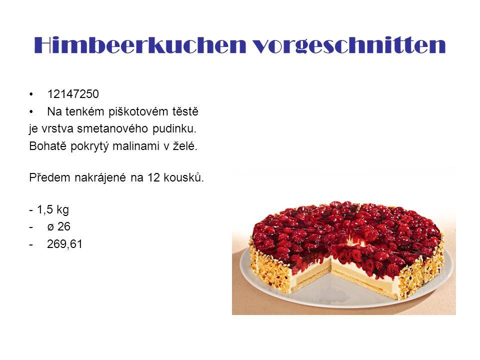 Himbeerkuchen vorgeschnitten 12147250 Na tenkém piškotovém těstě je vrstva smetanového pudinku. Bohatě pokrytý malinami v želé. Předem nakrájené na 12