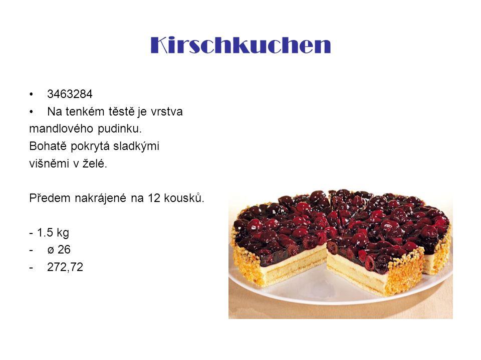 Kirschkuchen 3463284 Na tenkém těstě je vrstva mandlového pudinku. Bohatě pokrytá sladkými višněmi v želé. Předem nakrájené na 12 kousků. - 1.5 kg -ø