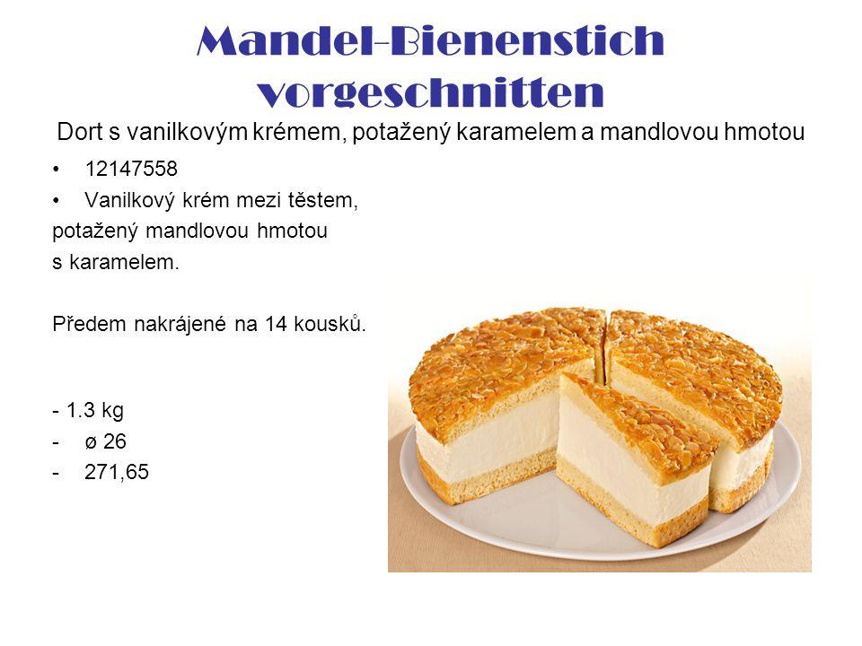 Mandel-Bienenstich vorgeschnitten Dort s vanilkovým krémem, potažený karamelem a mandlovou hmotou 12147558 Vanilkový krém mezi těstem, potažený mandlovou hmotou s karamelem.