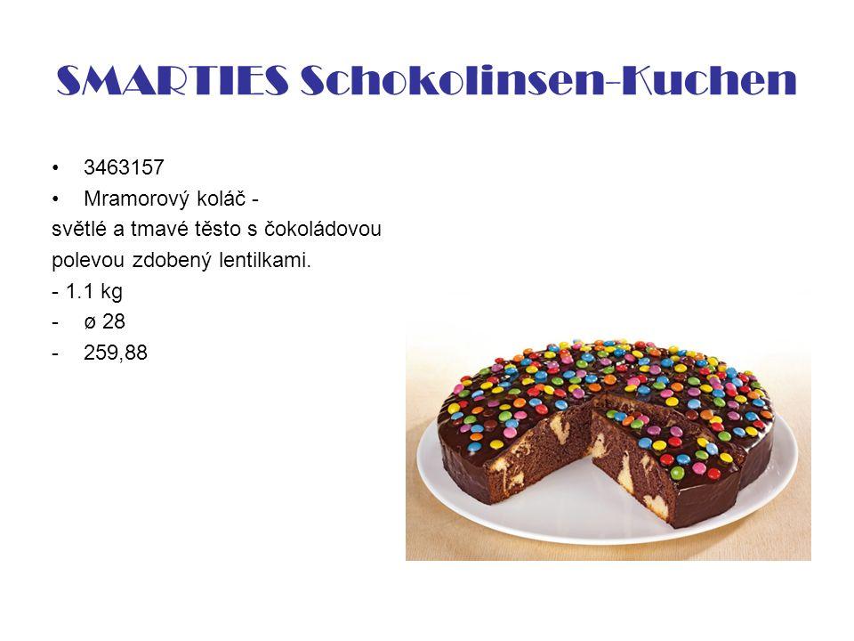 SMARTIES Schokolinsen-Kuchen 3463157 Mramorový koláč - světlé a tmavé těsto s čokoládovou polevou zdobený lentilkami.