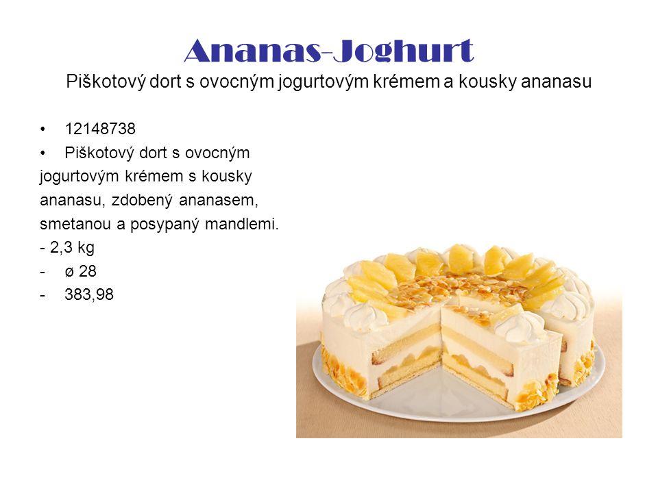 Ananas-Joghurt Piškotový dort s ovocným jogurtovým krémem a kousky ananasu 12148738 Piškotový dort s ovocným jogurtovým krémem s kousky ananasu, zdobený ananasem, smetanou a posypaný mandlemi.