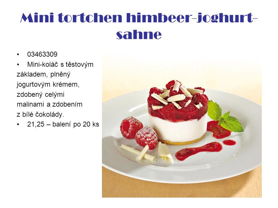 Mini tortchen himbeer-joghurt- sahne 03463309 Mini-koláč s těstovým základem, plněný jogurtovým krémem, zdobený celými malinami a zdobením z bílé čokolády.