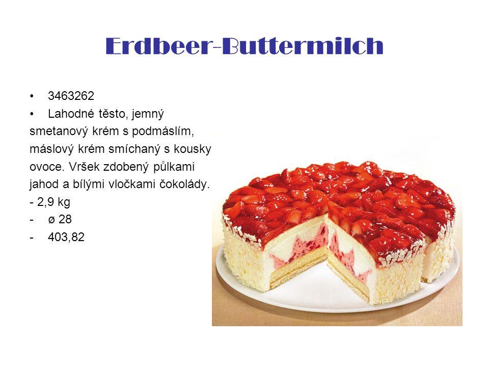 Erdbeer-Buttermilch 3463262 Lahodné těsto, jemný smetanový krém s podmáslím, máslový krém smíchaný s kousky ovoce. Vršek zdobený půlkami jahod a bílým