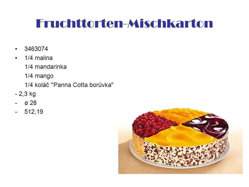 Fruchttorten-Mischkarton 3463074 1/4 malina 1/4 mandarinka 1/4 mango 1/4 koláč Panna Cotta borůvka - 2,3 kg -ø 28 -512,19