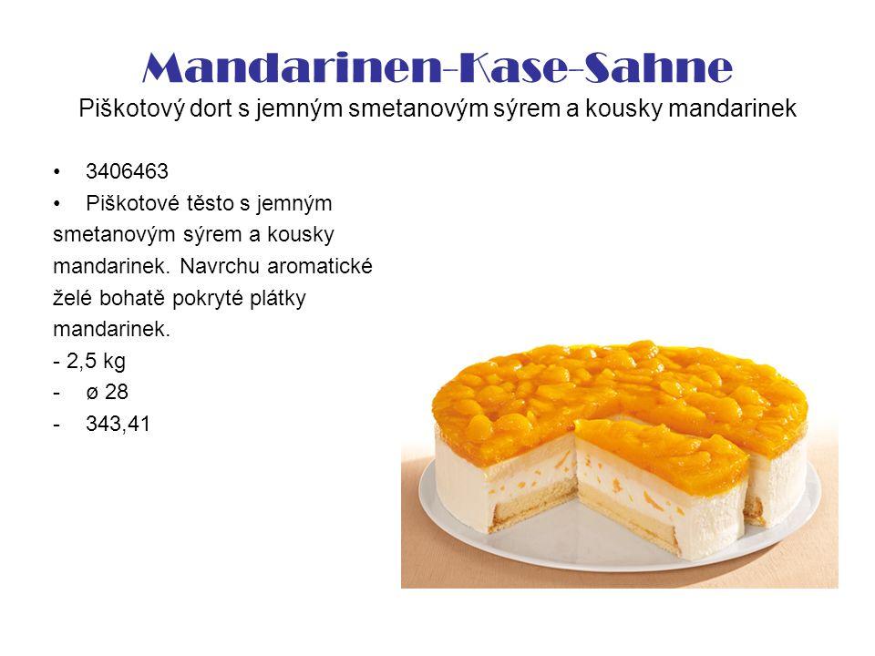 Mandarinen-Kase-Sahne Piškotový dort s jemným smetanovým sýrem a kousky mandarinek 3406463 Piškotové těsto s jemným smetanovým sýrem a kousky mandarinek.