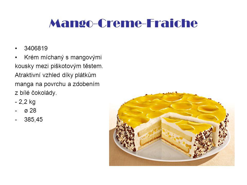 Mango-Creme-Fraiche 3406819 Krém míchaný s mangovými kousky mezi piškotovým těstem. Atraktivní vzhled díky plátkům manga na povrchu a zdobením z bílé