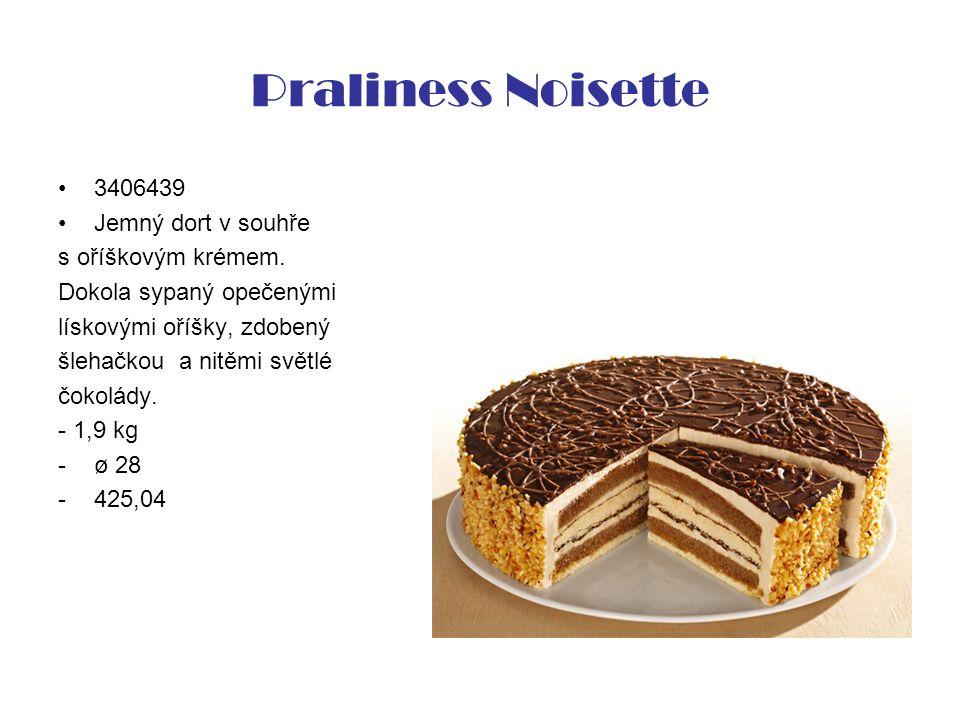 Praliness Noisette 3406439 Jemný dort v souhře s oříškovým krémem. Dokola sypaný opečenými lískovými oříšky, zdobený šlehačkou a nitěmi světlé čokolád