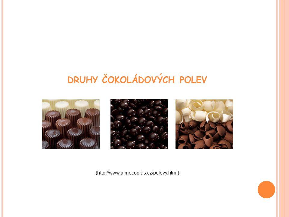 DRUHY ČOKOLÁDOVÝCH POLEV (http://www.almecoplus.cz/polevy.html)