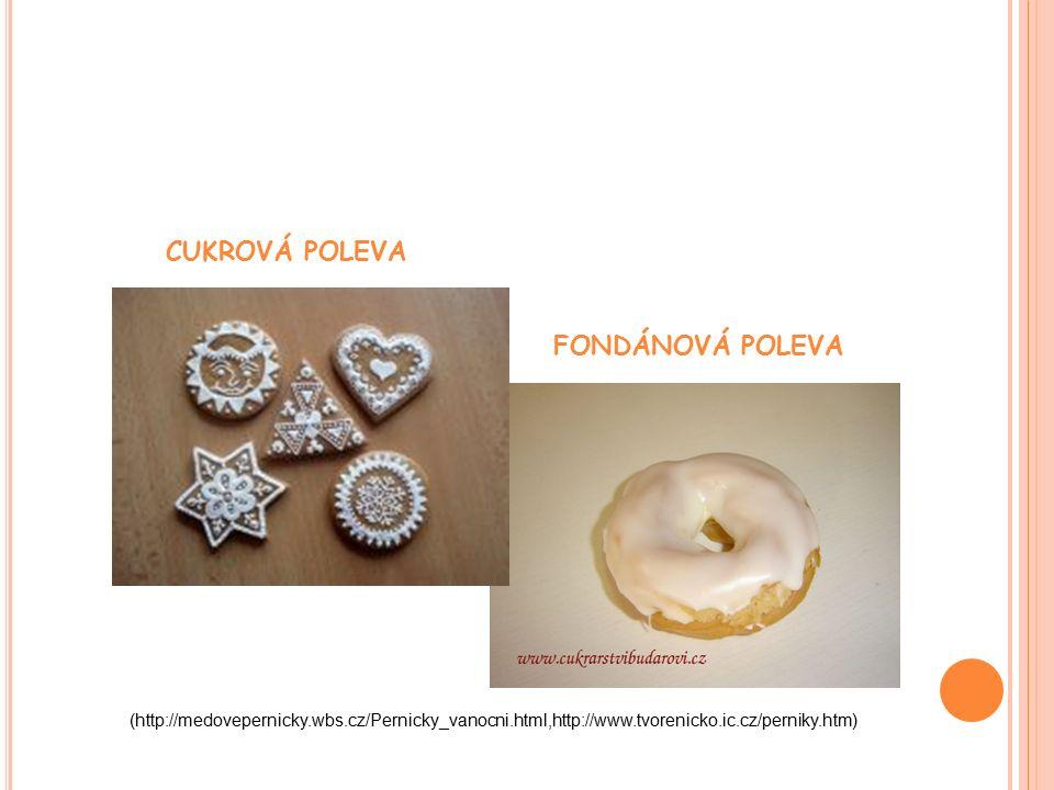 CUKROVÁ POLEVA FONDÁNOVÁ POLEVA (http://medovepernicky.wbs.cz/Pernicky_vanocni.html,http://www.tvorenicko.ic.cz/perniky.htm)