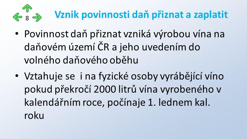 Povinnost daň přiznat vzniká výrobou vína na daňovém území ČR a jeho uvedením do volného daňového oběhu Vztahuje se i na fyzické osoby vyrábějící víno pokud překročí 2000 litrů vína vyrobeného v kalendářním roce, počínaje 1.