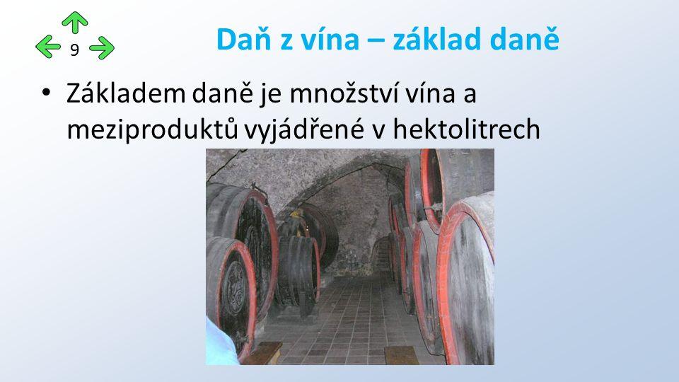 Základem daně je množství vína a meziproduktů vyjádřené v hektolitrech Daň z vína – základ daně 9