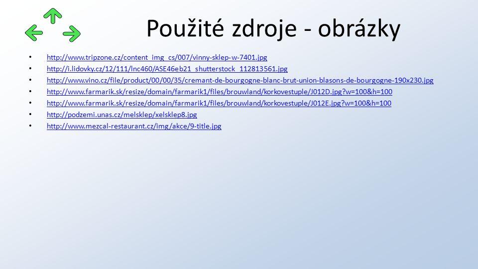 http://www.tripzone.cz/content_img_cs/007/vinny-sklep-w-7401.jpg http://i.lidovky.cz/12/111/lnc460/ASE46eb21_shutterstock_112813561.jpg http://www.vino.cz/file/product/00/00/35/cremant-de-bourgogne-blanc-brut-union-blasons-de-bourgogne-190x230.jpg http://www.farmarik.sk/resize/domain/farmarik1/files/brouwland/korkovestuple/J012D.jpg w=100&h=100 http://www.farmarik.sk/resize/domain/farmarik1/files/brouwland/korkovestuple/J012E.jpg w=100&h=100 http://podzemi.unas.cz/melsklep/xelsklep8.jpg http://www.mezcal-restaurant.cz/img/akce/9-title.jpg Použité zdroje - obrázky