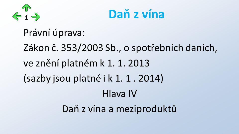 Právní úprava: Zákon č. 353/2003 Sb., o spotřebních daních, ve znění platném k 1.