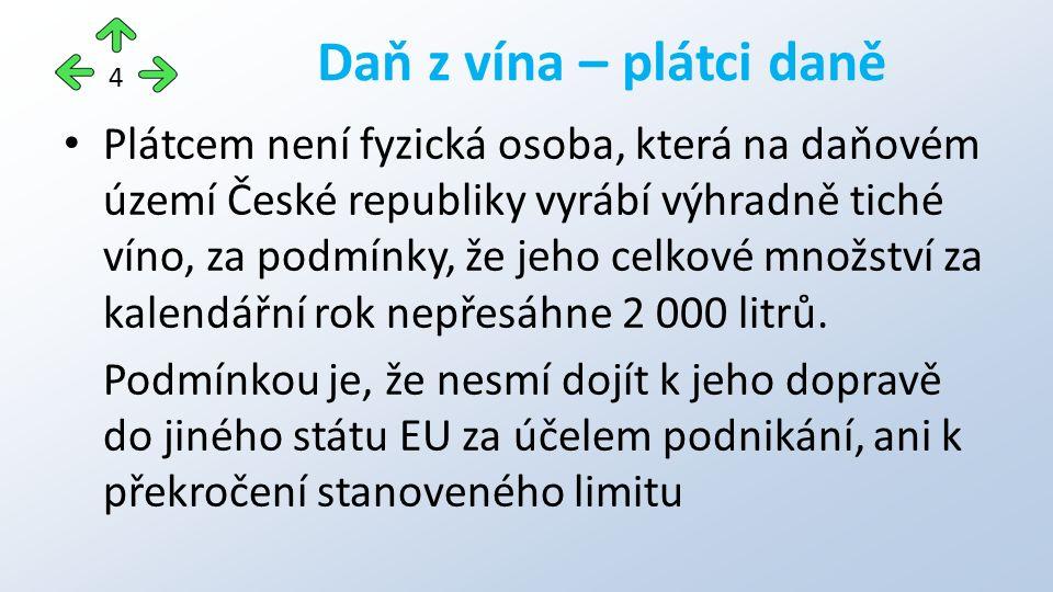 Plátcem není fyzická osoba, která na daňovém území České republiky vyrábí výhradně tiché víno, za podmínky, že jeho celkové množství za kalendářní rok nepřesáhne 2 000 litrů.